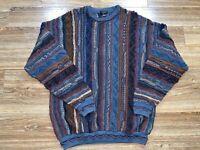 Vintage Cellinni Cosby Biggie Hip Hop Rap 90s 3D Textured Sweater Size XXLT