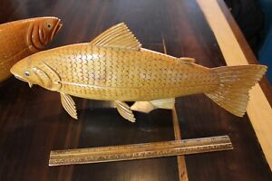 2 WOOD HAND CARVED SALMONS QUEBEC , CANADA SIGNED