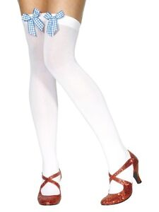 Sexy Smiffy's Opaque White Thigh-High Stockings w Light Blue Gingham Bow