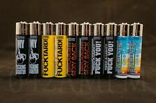 10 pcs New Refillable Clipper Lighters 8 Funny Saying + 2 Elements