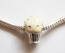1 Silver Plated Enamel Cupcake Charm Bead - Creamy White - Fits Charm Bracelet