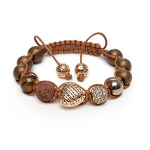 Shamballa Gemstone Bracelet Gold Lattice Heart Tigers Eye Pyrite Pave Crystal UK
