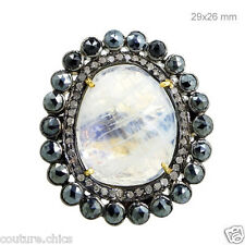14 K Gold Black Spinel Moonstone Cocktail Ring Diamond Pave .925 Silver Jewelry
