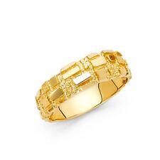 Men 14k Yellow Real Gold Nugget Fashion Anniversary Bridal Engagement Ring Band