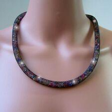 Necklace 58cm Flat Back Crystal Rhinestones Multicolour 3d-netzcollier Jewellery