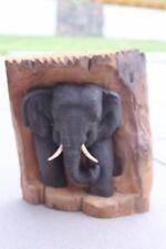 Elefant Skulptur Im Baumstumpf H 27 Cm Teakholz Unikat Treibholz Nr. E106