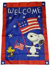"PEANUTS SNOOPY WELCOME PATRIOTIC APPLIQUE FLAG~28""x40""~LABOR DAY~MEM DAY~JULY 4"