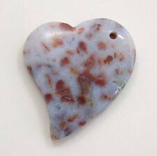 Indian Agate Heart Shape Pendent Bead - 38x36x7mm - Agate Stone Bead
