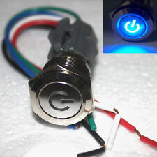 BLUE 19mm Push Button ON/OFF Switch With Plug Power Symbol LED  Waterproof 12v