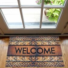 Anti Slip Non Skid 3D Rubber Door Mat with Attractive Welcome Design (Multicolor