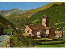 Postal Lineas de Broto (Pirineo Aragonés) Iglesia Románica y Tendeñera al fondo.