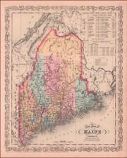 MAINE, Fine Antique Desilver MAP, Engraved & Hand Color, Detailed, Original 1856