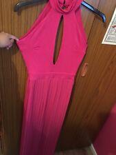 ASOS Pink Floor Length High Neck Pleat Skirt Maxi Dress