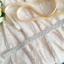 Bridal Sash Bride Wedding Rhinstone Crystal Dress Belt with Satin Ribbon FA125