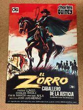 ZORRO RIDER OF VENGEANCE Original SWASHBUCKLER Movie Poster CHARLES QUINEY