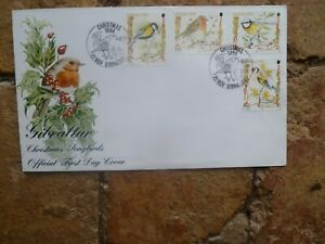 1995 GIBRALTAR SET OF 5 STAMPS FIRST DAY COVER CHRISTMAS BIRDS