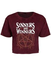 T-shirt Sinners Are Winners Oversized Cropped Women's Red