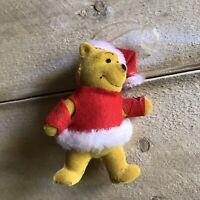 Vintage Winnie the Pooh Flocked Christmas Ornament Walt Disney Holiday Decor VTG