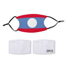 Reusable Face Mask 2 Filters Laos Lao Flag Country Pride Patriotic National