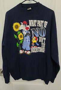 VTG Garment Graphics Activewear Sylvester Tweety Sweatshirt Navy XL
