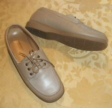 Womens ROCKPORT Taupe LEATHER OXFORDS~NEW 8 WIDE 8W Lace Up Shoes~Tan~COMFORT