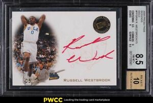 2008 Press Pass Gold Russell Westbrook ROOKIE RC AUTO /75 #PPSRW BGS 8.5 NM-MT+