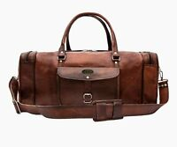 Men's Brown Vintage Travel Luggage Duffle Gym Bags Made Of Genuine Goat Leather