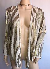 Chico's Blazer Jacket Nude Gold Sequin Embellished Flashy Medium M Size 1