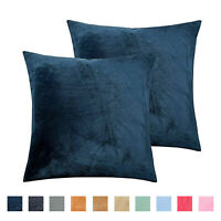 Throw Pillow Covers Set of 2 Sofa Decor Velvet Cushion Cases 4 Sizes 10 Colors