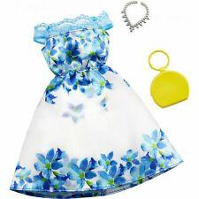 Barbie Fashion Pack Bare-Shoulder Satin-Look Blue Flowers, Lace Trim Dress