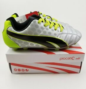PUMA Procat Soccer Equalizer Cleats Youth Kids Silver Green Sz 12