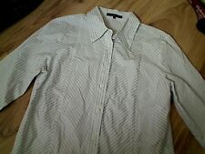JAEGER COTTON WHITE BLUE STRIPES 3/4 SLEEVE V NECK BUTTONED DOWN SHIRT  SIZE 12