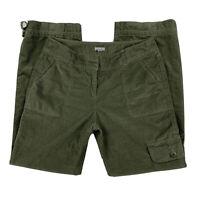J Jill Women 10 Stretch Corduroy Straight Tie Leg Cargo Pants Jeans Pocket Green