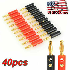 40Pcs Gold Plated Banana Plugs Audio Jack Speaker Wire Cable Screw Connector US