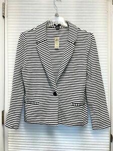 Ann Taylor Women's Black & White Striped One Button Blazer Jacket Size 14 - NWT