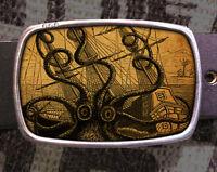 Octopus Attacks Vintage Inspired Art Gift Sea Belt Buckle