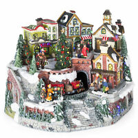 BCP 12in Pre-Lit Hand-Painted Tabletop Christmas Village Set w/ Rotating Train