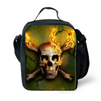Boys Kids Fire Skull Insulated Lunch Pack Bag School Picnic Food Cooler Box Gift