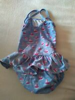 Jojo Maman Bebe Baby Girl Blue Swimming Costume Swimsuit Size 6-12 Months