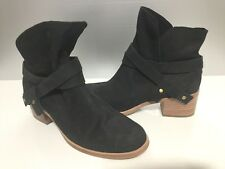 UGG Elora Black Leather Ankle Booties Boots 10