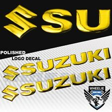 "2X 8"" X 1.25"" 3D POLISHED ABS/SHINY EMBLEM DECAL LOGO+LETTER STICKER SUZUKI GOLD"