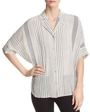 e63852c8c23 Sz 1x Eileen Fisher Bone Notch Collar Varied Stripe Crepe De Chine Silk Top