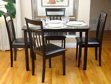Dining Kitchen 5 Pcs SET Rectangular Table 4 Warm Chairs Breakfast Wood Espresso