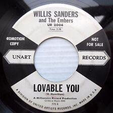 WILLIS SANDERS & THE EMBERS doowop promo UA 45 LOVABLE YOU b/w HONEY BUN dm125