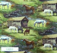 Patchwork Quilting Fabric HORSES GRAZING Sewing Material Cotton FQ 50X55cm NEW