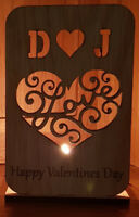 PERSONALISED TEA LIGHT CANDLE HOLDER VALENTINES GIFT ANNIVERSARY OAK LOVE HEART