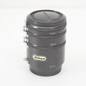 SET OF NIKON EXTENSION TUBES FOR NIKON A1 F MOUNT 11mm, 18mm, 36mm