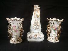 antique bruxelles  porcelain Maria figurine with 2 little vases.