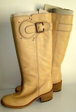 Pre-Owned CHLOE Prince Paddington Tall Flat Boots Pastello Tan Size 38 in box