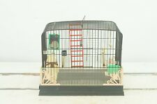 Vintage Black and Pink Beco Bird Cage Art Deco Style Birdcage 15 Pc's of Equipm